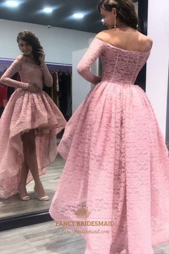 Off The Shoulder Long Sleeve Ruffle Lace Overlay High Low Prom Dress