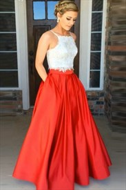 A Line Spaghetti Strap Two Piece Satin Prom Dress With Lace Top