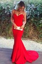 Red Spaghetti Strap Sweetheart Floor Length Mermaid Dress With Train