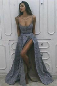 Square Neckline Sleeveless Floor Length Lace Prom Dress With Split
