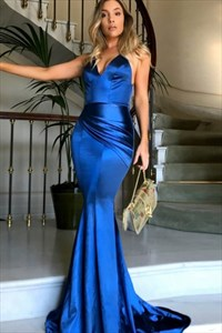 Royal Blue V Neck Open Back Mermaid Prom Dress With Ruched Waist