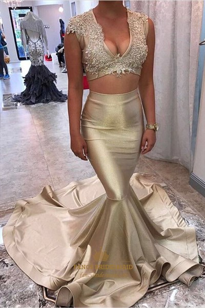 Lace Appliques Mermaid Satin Two Piece Prom Dress With Sweep Train