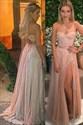 Grecian Pink A Line V Neck Beaded Side Split Tulle Prom Dress