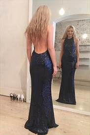 Navy Blue Halter Sleeveless Open Back Sheath Sequin Long Prom Dress