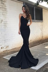 Glamorous Black Spaghetti Strap Floor Length Mermaid Prom Dress