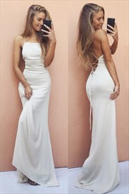 Ivory Square Neck Sleeveless Backless Prom Dress With Lace Up Back