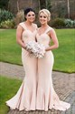 Light Pink Square Neck Ruched Long Satin Mermaid Bridesmaid Dress