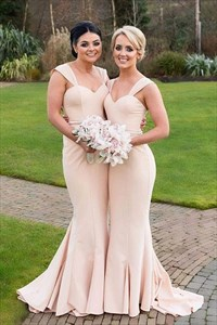 Light Pink Square Neck Ruched Long Satin Mermaid Bridesmaid Dress