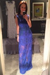 Simple Royal Blue Jewel Neck Sleeveless Lace Overlay Long Prom Dress