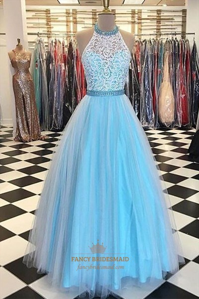 Sleeveless Beaded Halter Neck Tulle Prom Dress With Lace Top