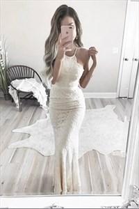 White Halter Neck Sheath Floor Length Lace Overlay Prom Dress