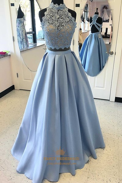 Light Blue A Line Sleeveless Halter Beaded Satin Two Piece Prom Dress