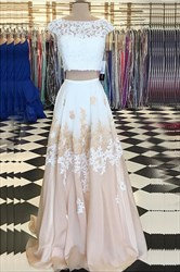 Bateau Keyhole Chiffon Two Piece Prom Dress With Lace Appliques