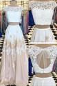 Bateau Keyhole Chiffon Two Piece Prom Dress With Lace Appliques