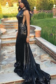 Black Bateau Side Cutout Floor Length Taffeta Prom Dress With Train