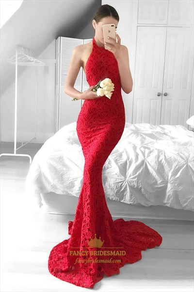 Halter Open Back Lace Overlay Mermaid Prom Dress With Sweep Train