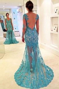V Neck Sheer Long Sleeve Backless Tulle Prom Dress With Lace Applique