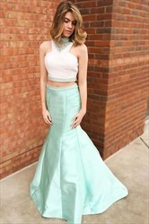 Sleeveless High Neck Beaded Satin Two Piece Prom Dress With Train