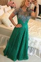 Emerald Green A Line Jewel Neck Beaded Short Sleeve Lace Prom Dress
