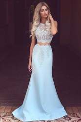 Light Blue Sleeveless Two Piece Satin Prom Dress With Lace Applique