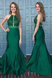 Sleeveless Halter Neck Keyhole Beaded Waist Open Back Prom Dress
