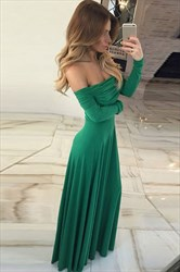 Off The Shoulder Long Sleeve Ruched Bodice Prom Dress With Side Drape