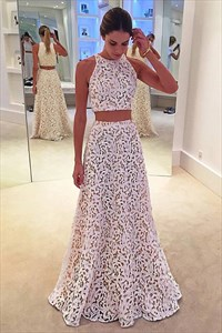 Simple White A Line Jewel Neck Sleeveless Two Piece Lace Prom Dresses