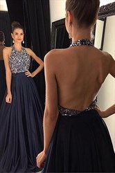 Navy Blue Halter Open Back Beaded Bodice Chiffon Long Prom Dresses