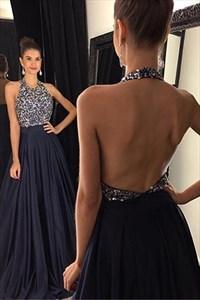 Navy Blue Halter Open Back Beaded Bodice Chiffon Long Prom Dresses