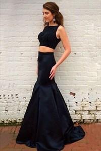 Black Beaded Sleeveless Floor Length Mermaid Two Piece Prom Dress