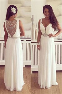 A Line V Neck Beaded Sash Chiffon Prom Dress With Illusion Back