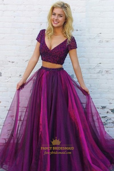 Purple Short Sleeve Beading Glitter Tulle Two Piece Prom Dress