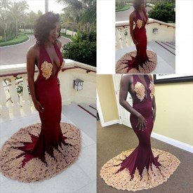 Burgundy Halter Open Back Mermaid Prom Dress With Gold Lace Applique