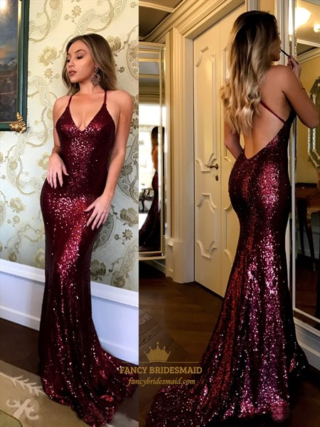 Spaghetti Strap V Neck Sleeveless Backless Sequin Mermaid Prom Dress