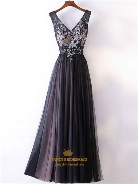 Dark Grey A-line Applique Beaded Tulle Prom Dresses With Lace Up Back