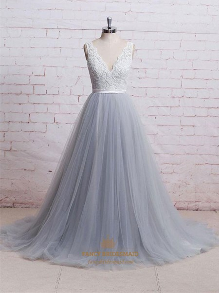 Sleeveless V Neck Beaded Floor Length Tulle Dress With Lace Bodice