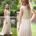 A Line Bateau Cap Sleeves Long Chiffon Dress With Ruched Bodice