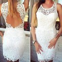 Illusion Jewel Neck Short Sheath Lace Prom Dress With Keyhole Back