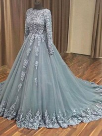 Lace Appliques Tulle Prom Dress With Lace Bodice And Long Sleeves