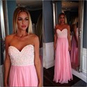 Simple Pink Sweetheart Sleeveless Beaded Long Chiffon Prom Dress