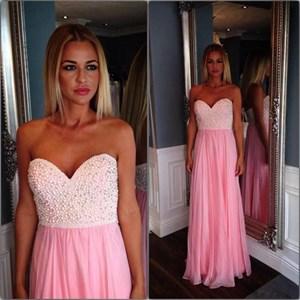 Simple Pink Sweetheart Sleeveless Beaded Long Chiffon Prom Dress