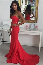 Elegant Red Sleeveless Floor Length Satin Mermaid Prom Dress