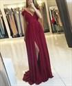 V Neck Cap Sleeve Ruched Bodice Slits Prom Dress With Side Drape