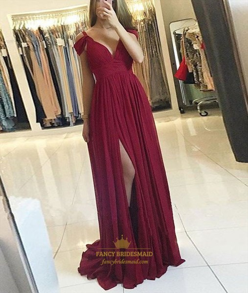 V Neck Cap Sleeve Ruched Bodice Slits Prom Dress With Side Drape