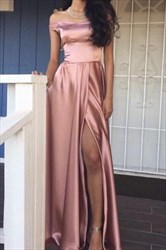 Pink A-Line Off The Shoulder Sleeveless Satin Prom Dress With Slits