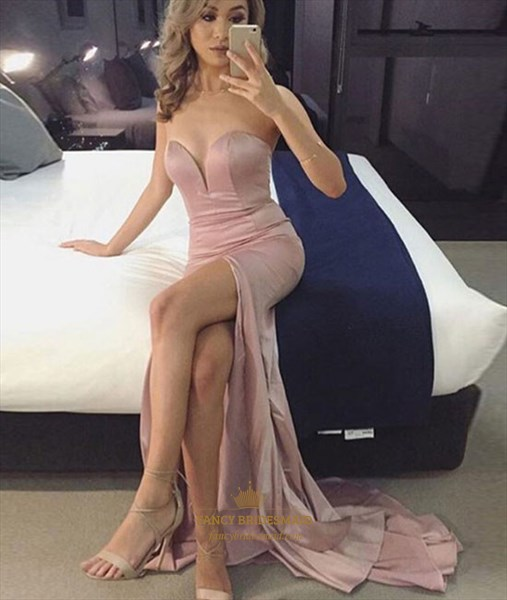 Sweetheart Sleeveless Floor Length Mermaid Prom Dress With Split