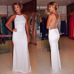 Simple White Bateau Sheer Back Sheath Long Chiffon Prom Dress