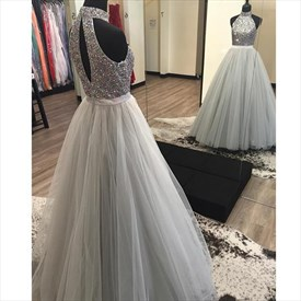 Sleeveless Halter Beaded Bodice Ball Gown Prom Dress With Keyhole