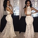 White High Neck Floor Length Lace Mermaid Two Piece Prom Dress