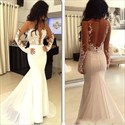 Bateau Long Sleeve Open Back Mermaid Prom Dress With Lace Applique